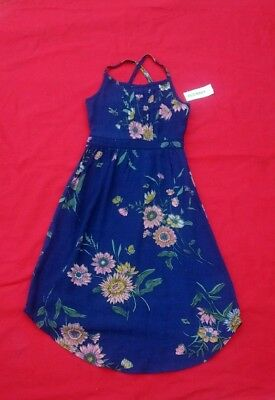 Old Navy Girls Dress 5  Pintucked  Floral Crepe -Midi  Sleeveless  Cotton