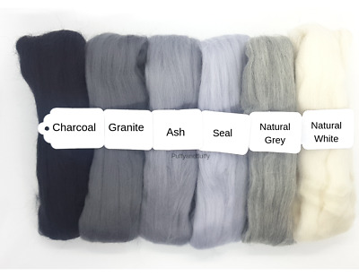 NEUTRAL GREY MIX 100% MERINO WOOL TOPS 60g-120g spinning needle felting roving