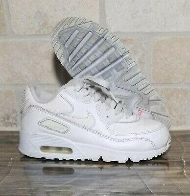 separation shoes e55b0 988c3 Nike Air Max 90 Leather Triple White Youth Size 2Y 833414-100