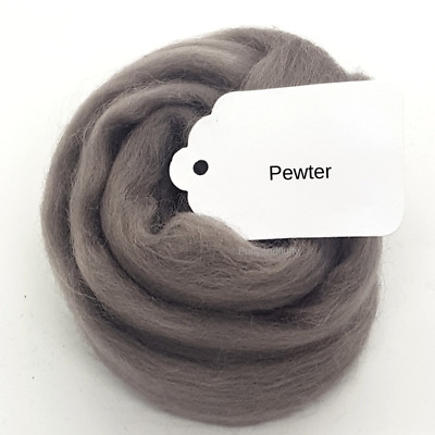 'PEWTER' BROWN GREY MERINO WOOL 64s spinning felting roving fibre art 50g-100g