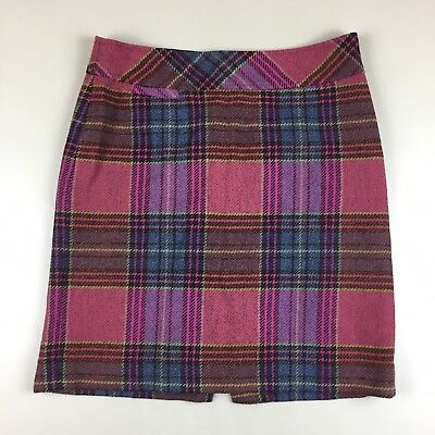d90cfa6e57 LL Bean Colorful Plaid Wool Blend Skirt Lined Side Zip Petite Size 6P