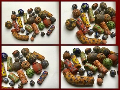 Ancient Authentic Roman /Saxon Glass Beads 200 Ad  6Th Cent Ad No Reserve!