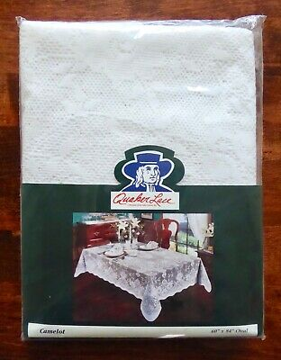 """Vintage Quaker Lace Tablecloth """"Camelot"""" Oval 60"""" x 84"""" White New in Package"""
