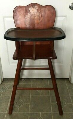 Vintage Antique Child Baby Solid Wood High Chair with Tray - Nice!!