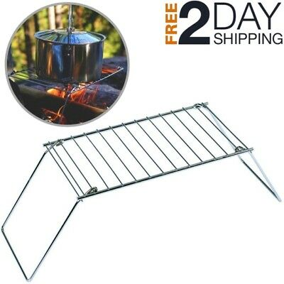 Fire Pit Grill Grate Camping Outdoor Portable Stove Bonfire Cooking Stand Holder