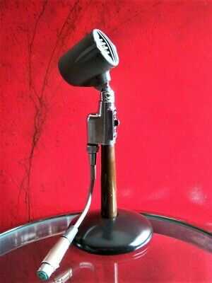 Vintage RARE 1940's Astatic N-30 microphone old deco midcentury w stand & cable