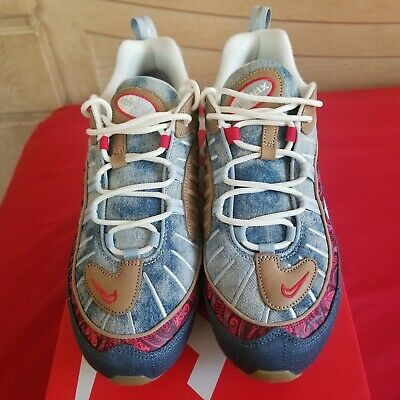 reputable site e6b5a 52137 Nike Air Max 98 Wild West Size 10 Denim Paisley Blue University Red