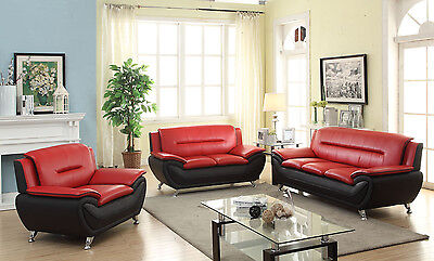 Modern Style Contemporary Bonded Leather Sofa & Loveseat 2PC/3PC Set Living Room