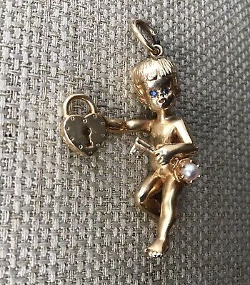 Antique 14K 3D Large Cherub with Diamond Eyes holding a Pearl Key and Padlock