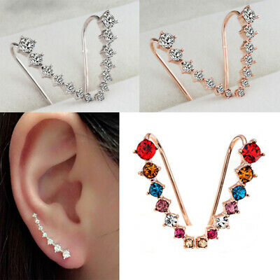 Silver Gold Coloful Large Statement Crystal Ear Climber Crawler Cuff Earrings
