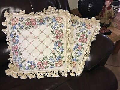 2 WOOLEN NEEDLEPOINT TAPESTRY AUBUSSON ROSES FRINGED COTTAGE PILLOW COVER 16x16