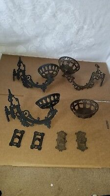 Vintage Cast Iron Oil Lamp Sconces Swing Arm Wall Holders and Misc Parts