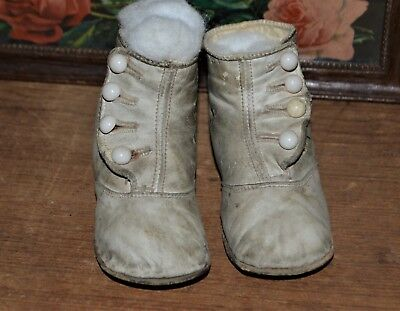 "Cute Antique High Button Leather Baby or Doll Shoes Boots 5"" L x 2"" W x 3"" H"
