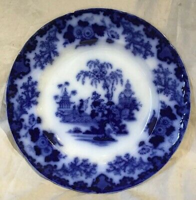 """Flow Blue Scinde Oriental Stone Dinner Plate 10 1/2"""" John And George Alcock"""