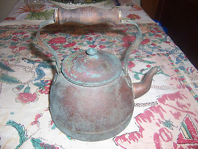 Antique Goose Neck Dovetail Tea Kettle Pot with Lid and wood handle