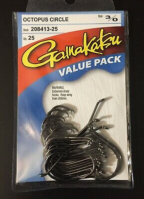 New Gamakatsu 3/0 Octopus Circle Value Pack 25 Fish Hooks