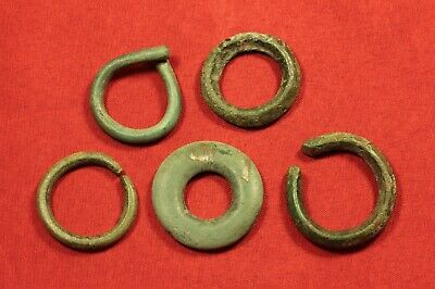 Lot of 5 Ancient Celtic Rings, Protomoneys