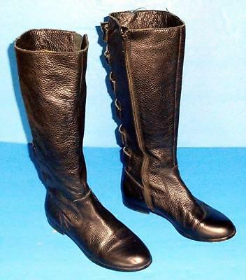 6d984b01ef4 Cynthia Vincent Knee High Black Pebble Finish Leather Boots Size Us 6