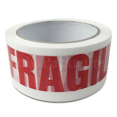"Low Noise FRAGILE TAPE Warning/Attention(48mmx66m)2"" Packing Parcels Any Qty"