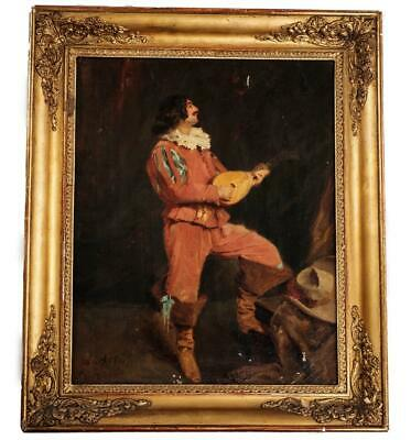 Angelo Asti Signed 19th C Oil Painting on Canvas Portrait of Man With Mandolin
