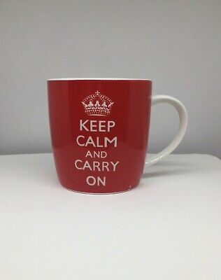Keep Calm And Carry On Mug Tea Coffee 10 Oz Red White Homeessentials