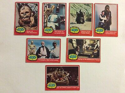 Topps Star Wars 1977 Series 2 Red Trading Cards Lot Of 7 Odd Cards Fair Grade