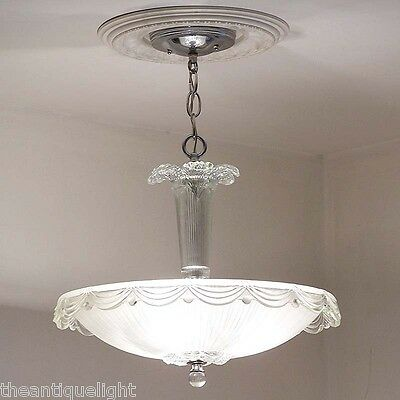 806 Vintage Antique Ceiling Light Lamp Fixture Glass Chandelier  Lincoln Drape