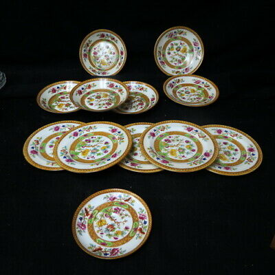 12 MISC Cauldon Indian Tree 5 bread plates / 4 sauce bowls 3 saucers 1 demitasse