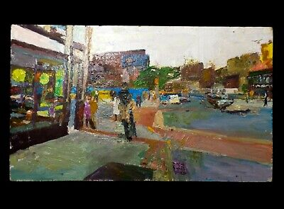 Modernist Abstract Urban Landscape Heavy Impasto O/B Of Downtown Greenfield, Ma