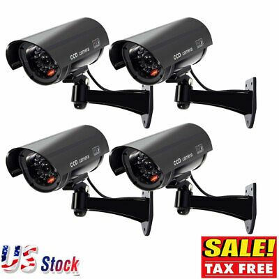 4 Pack Dummy Bullet Dome Surveillance Security Camera Combo LED Record Light US