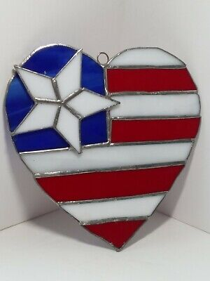 HANDCRAFTED Stained Glass PATRIOTIC HEART SUN CATCHER Window ORNAMENT Star RWB