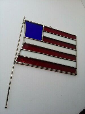 HANDCRAFTED PATRIOTIC FLAG Stained Glass SUN CATCHER Window ORNAMENT RWB