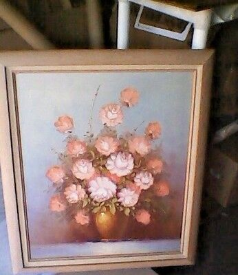 Beautiful Large Vintage Robert Cox flower rose still life oil painting