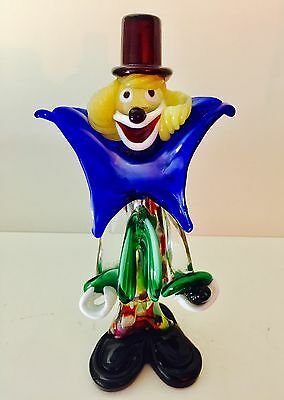 Vtg Murano Italian Venetian Striking Art Glass Clown Holding Bottle10""
