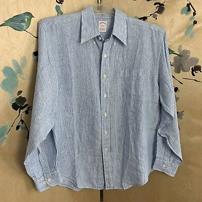 c873a931b BROOKS BROTHERS Irish Linen Shirt Traditional Fit Blue White Stripe Men's  Large