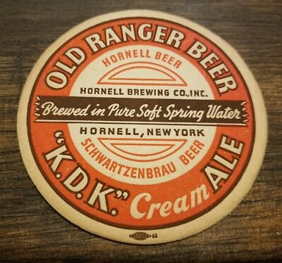 1940's HORNELL BEER ALE BREWING COASTER NY NEW YORK OLD RANGER KDK CREAM BRAU