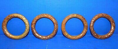 4 Antique Vtg Ornate Victorian Curtain Rod Bracket Tie Backs Cast Iron Rings