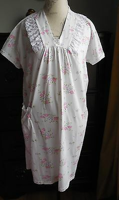 a707e476b9 Nwot White With Pink Floral Print Sweet Whispers Cotton Women's Nightgown  Size M