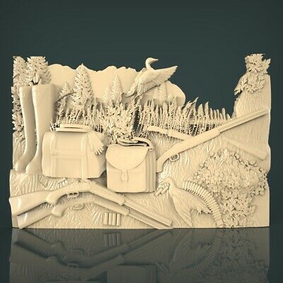 (1230) STL Model Hunting for CNC Router 3D Printer Artcam Aspire Bas Relief