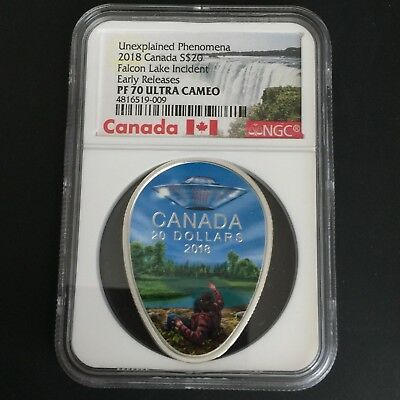 2018 PF 70 Falcon Lake Incident UFO 1oz Silver Coin-EARLY RELEASES NGC ER