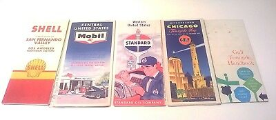Lot of 4 Vintage 1960s Service Station Map GULF SHELL MOBIL STANDARD OIL Touring