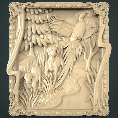 (1243) STL Model Hunting for CNC Router 3D Printer Artcam Aspire Bas Relief