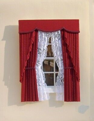 Dolls House Curtains - Swag Effect With Tied Nets - Various Colours