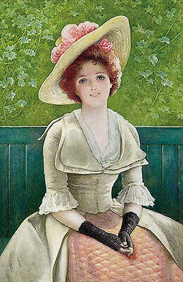 Hand painted Oil painting Greenbank Arthur Young woman wearing hat seated