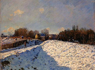 Oil painting Alfred Sisley - The Effect of Snow at Argenteuil impressionism view