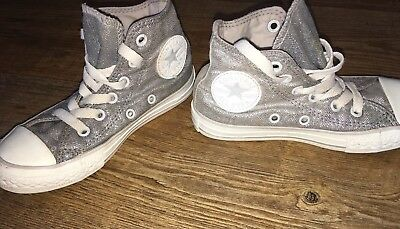 Converse Size 11 Girls Silver Trainers Canvas Shoes Kids Lace Up