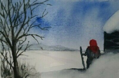Woman in Winter Snow Landscape Original Watercolor Miniature Painting ACEO