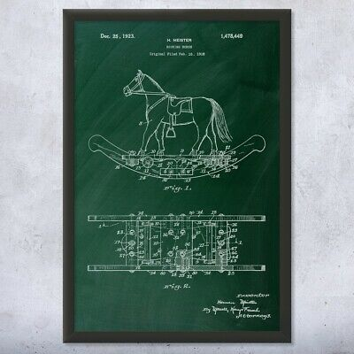 Framed Rocking Horse Print Toy Collector Gift Childrens Room Wooden Horse