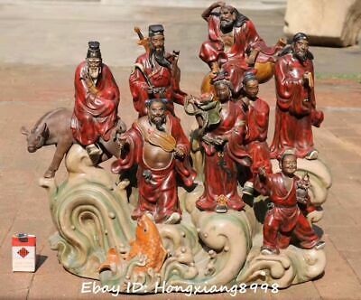 "29""Rare Chinese Ancient Wucai Porcelain 8 Eight immortal God water Statue Set"