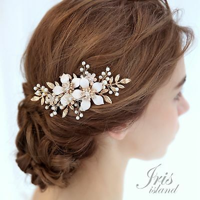 Bridal Hair Comb Flower Pearl Crystal Headpiece Wedding Accessories 03758 Gold